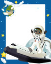 The space journey happy and funny mood illustration for the children colorful Stock Photos