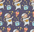 Space kawaii background with astronaut and ice cream planet