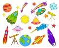 Space objects sketch set colored Royalty Free Stock Photo