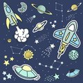 Space objets stickers patches and design elements