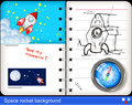 Space rocket background illustration of notebook Royalty Free Stock Image