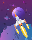Space rocket flying in the universe cute art vector paper art