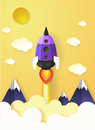 Space rocket launch flying to sky. paper art style.