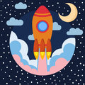 Space rocket ship in round piece with Moon and clouds. Space rocket launch. Project startup and development process concept. Royalty Free Stock Photo