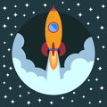 Space rocket ship in round piece. Space rocket launch. Royalty Free Stock Photo