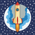Space rocket ship in round piece. Space rocket launch. Project startup and development process concept. Royalty Free Stock Photo