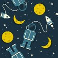 stock image of  Space rockets, astronauts, moon and stars, colorful seamless pattern