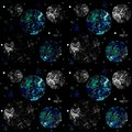 Space seamless pattern on black background with stars, planets and moon