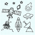 Space set hand draw on  graph paper. Royalty Free Stock Photography