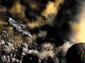 Space ship d rendered flying above asteroids in universe Royalty Free Stock Photos