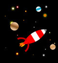 Space ship rocket travelling in outer amidst stars and planets Royalty Free Stock Photo