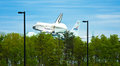 Space Shuttle Discovery Touching Down at Dulles Royalty Free Stock Photography