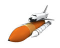 Space shuttle isolated on white background d render Royalty Free Stock Images