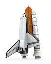 Space shuttle isolated on white background d render Stock Photos