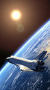 Space shuttle orbiting earth d scene Royalty Free Stock Photos
