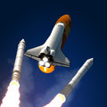 Space shuttle solid rocket buster detached d scene Stock Photo