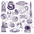 Space sketch set Royalty Free Stock Photo