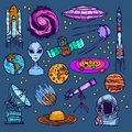 Space sketch set colored Royalty Free Stock Photo
