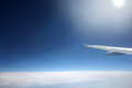Space sky with aircraft wing Stock Photography