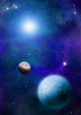 Space stars bacground planets with small moons orbiting nearby star Stock Photos