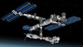 Space station modular satellite with solar panels and architecture Stock Photo