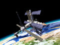 Space station in orbit around earth with large portion of the at the bottom Stock Photos