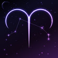 Space symbol of Aries of zodiac and horoscope concept, vector art and illustration. Royalty Free Stock Photo