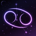 Space symbol of Cancer of zodiac and horoscope concept, vector art and illustration. Royalty Free Stock Photo