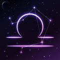 Space symbol of Libra of zodiac and horoscope concept, vector art and illustration. Royalty Free Stock Photo