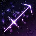 Space symbol of Sagittarius of zodiac and horoscope concept, vector art and illustration. Royalty Free Stock Photo
