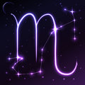 Space symbol of Scorpio of zodiac and horoscope concept, vector art and illustration. Royalty Free Stock Photo
