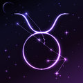 Space symbol of Taurus of zodiac and horoscope concept, vector art and illustration. Royalty Free Stock Photo