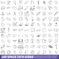 100 space tech icons set, outline style Royalty Free Stock Photo