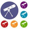 Space telescope icons set Royalty Free Stock Photo