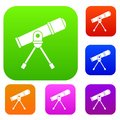 Space telescope set collection Royalty Free Stock Photo