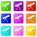 Space telescope set 9 Royalty Free Stock Photo
