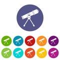Space telescope set icons Royalty Free Stock Photo