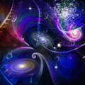 Space time and quantum physics with stars Royalty Free Stock Photography