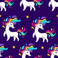Space unicorn magic astronaut.Pink vector cute cartoon pony with rainbow mane and horn on space background.