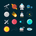 Space Universe Colored Icon Set Royalty Free Stock Photo