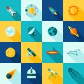 Space universe long shadows icon set symbols satellite rocket planet and constellation flat color isolated vector illustration Stock Images