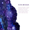 Space vector background with watercolor texture. Leaflet layout with copy space.