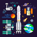 Spacecraft and space industry elements Royalty Free Stock Photo