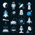 Spacecrafts Instruments Equipment Flat Icons Set