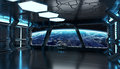 Spaceship blue interior 3D rendering elements of this image furn Royalty Free Stock Photo