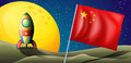 A spaceship with the flag of china in the outerspace illustration Stock Photo