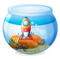 A spaceship inside the aquarium illustration of on white background Stock Images