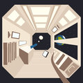 Spaceship in space. Vector cartoon illustration Royalty Free Stock Photo