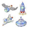Spaceship and UFO vector cartoon set, Rocket, spacecraft Royalty Free Stock Photo