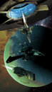 Spaceships and planets sace fighter coming out from a spatial station with several at the foreground of alien Stock Photo